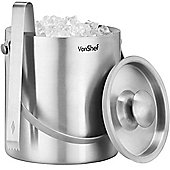 VonShef 2 Litre Double Walled Insulated Stainless Steel Ice Bucket with Lid, Carry Handle & Tongs