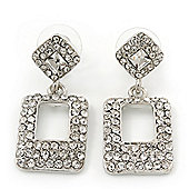 Rhodium Plated Square Drop Clear Crystal Earrings - 3.5cm