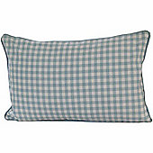 Homescapes Cotton Gingham Check Blue Scatter Cushion, 30 x 50 cm