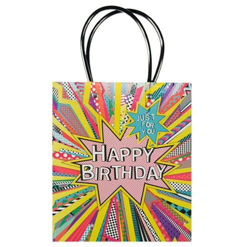 Happy Birthday Bright Burst Bag - med