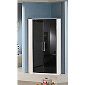 Amos Mann furniture Milano 2 Door Corner Wardrobe - Walnut - Black
