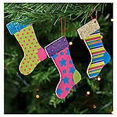 Tesco Glitter Stockings Hanging Decoration, 4 Pack