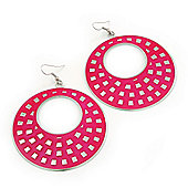 Large Lightweight Fuchsia Enamel Hoop Earrings In Rhodium Plating - 8cm Drop