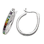 Jewelco London Rhodium-Coated Sterling Silver CZ Hoop Earrings