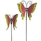 Set of 2 Red & Yellow Metal 3D Butterfly Windmills on Stakes Garden Ornaments