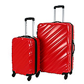 Swiss Case 4 Wheel Spinner Wave 2Pc Strong Abs Suitcase / Luggage Set Red