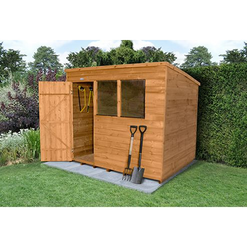 Buy timberdale 8x6 overlap dip treated pent shed from our for Garden shed 8x6