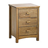 Serene Furnishings Eleanor 3 Drawer Bedside Table - Honey Oak