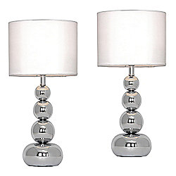 Pair of Marissa Chrome Touch Table Lamps with White Shades