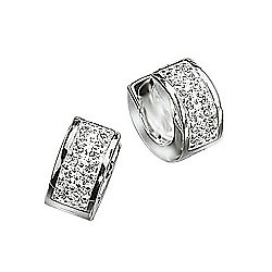 Mens CZ Silver Huggie Earrings