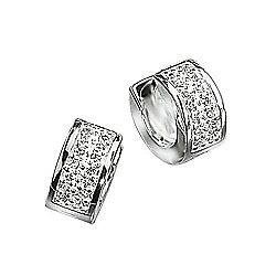 Mens CZ Silver Huggie Earrings