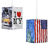 New York Four Sided Ceiling Pendant Light Shade