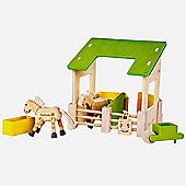 EverEarth Stable Set Natural Wooden Toy 3+ years