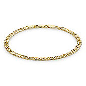 9ct Yellow Gold Ladies Hollow Double Curb Bracelet
