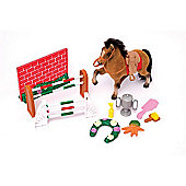 Derby Stable Playset - Flocked Horse Set with Accessories