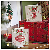 Stocking and Bauble Luxury Christmas Cards, 10 pack