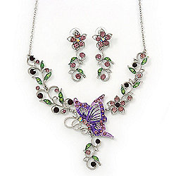 Purple/ Lilac/ Green Swarovski Crystal 'Butterfly' Necklace & Drop Earring Set In Rhodium Plating - 40cm Length/ 6cm Extension