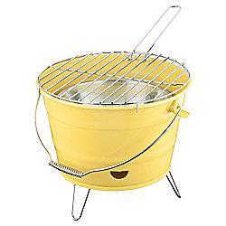 Tesco Small Charcoal Bucket BBQ, Yellow
