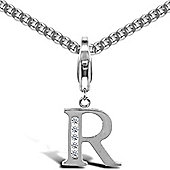 Sterling Silver Cubic Zirconia Identity Pendant - Initial R - 18inch Chain