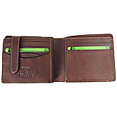 Tony Perotti Italian leather tri-fold note case wallet with tab. Brown