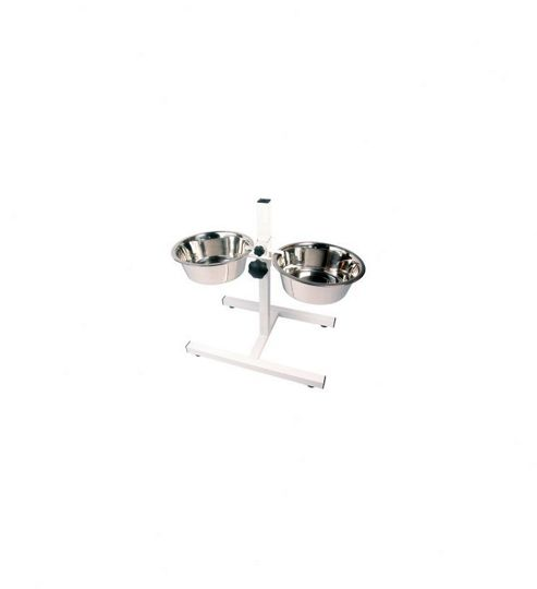 Rosewood Pet Products Feeding Adjustable Double Diner Dog Bowls - Medium (45cm H x 27cm W x 7.06cm L)