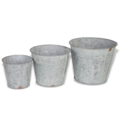 buy small galvanised plant pots from our pots range tesco. Black Bedroom Furniture Sets. Home Design Ideas