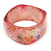 Pale Pink Floral Print Chunky Square Resin Bangle Bracelet - up to 18cm wrist