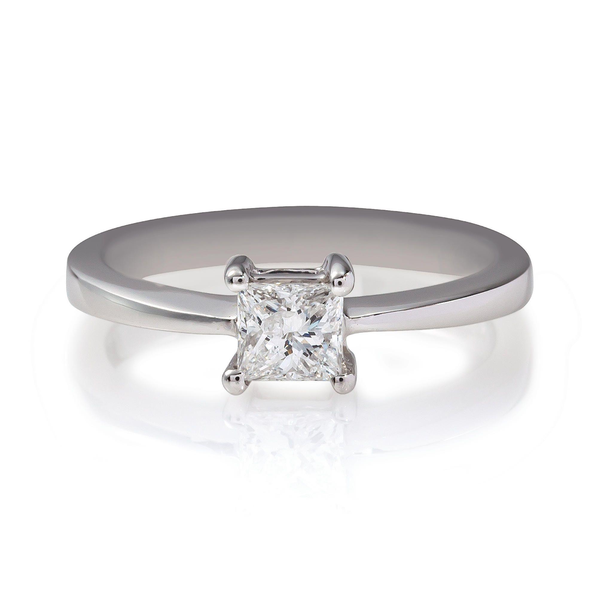 18ct White Gold 1/2ct Diamond Princess Cut Ring, N at Tesco Direct