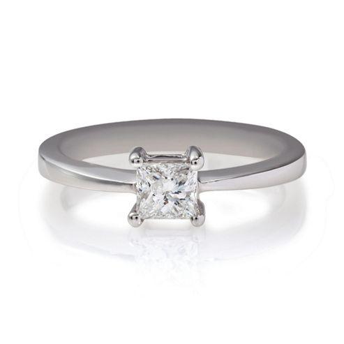 18ct White Gold 1/2ct Diamond Princess Cut Ring, N