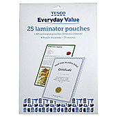 Tesco Value A4 Laminator Pouches 75 micron 25 Pack