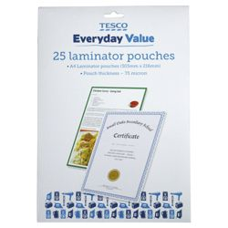 Tesco A4 Laminator Pouches 25 Pack