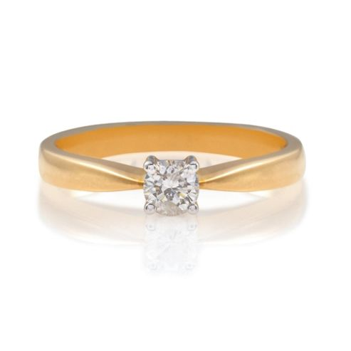 18ct Gold 25Pt Diamond Solitaire Ring, L