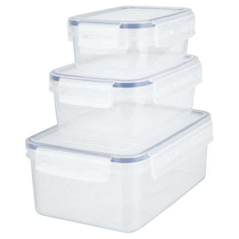 Tesco Klip Fresh Rectangular Food Containers, Set of 3