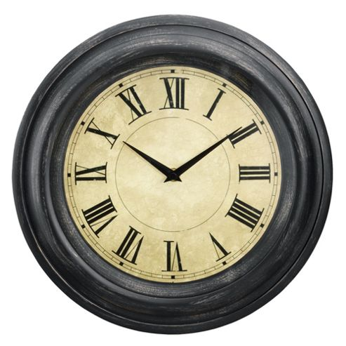 buy tesco clocks antique finish wall clock brown from our. Black Bedroom Furniture Sets. Home Design Ideas