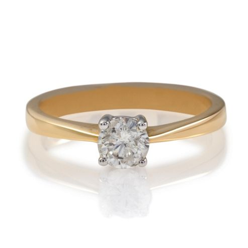 18ct Gold 50Pt Diamond Solitaire Ring, L