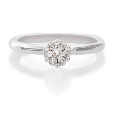 9ct White Gold 25Pt Diamond Invisible Set Ring, L