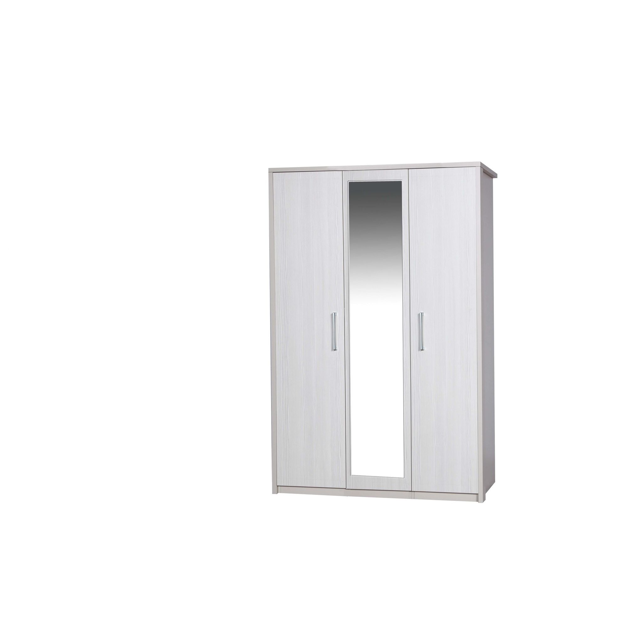 Alto Furniture Avola 3 Door Wardrobe with Mirror - Cream Carcass With White Avola at Tesco Direct