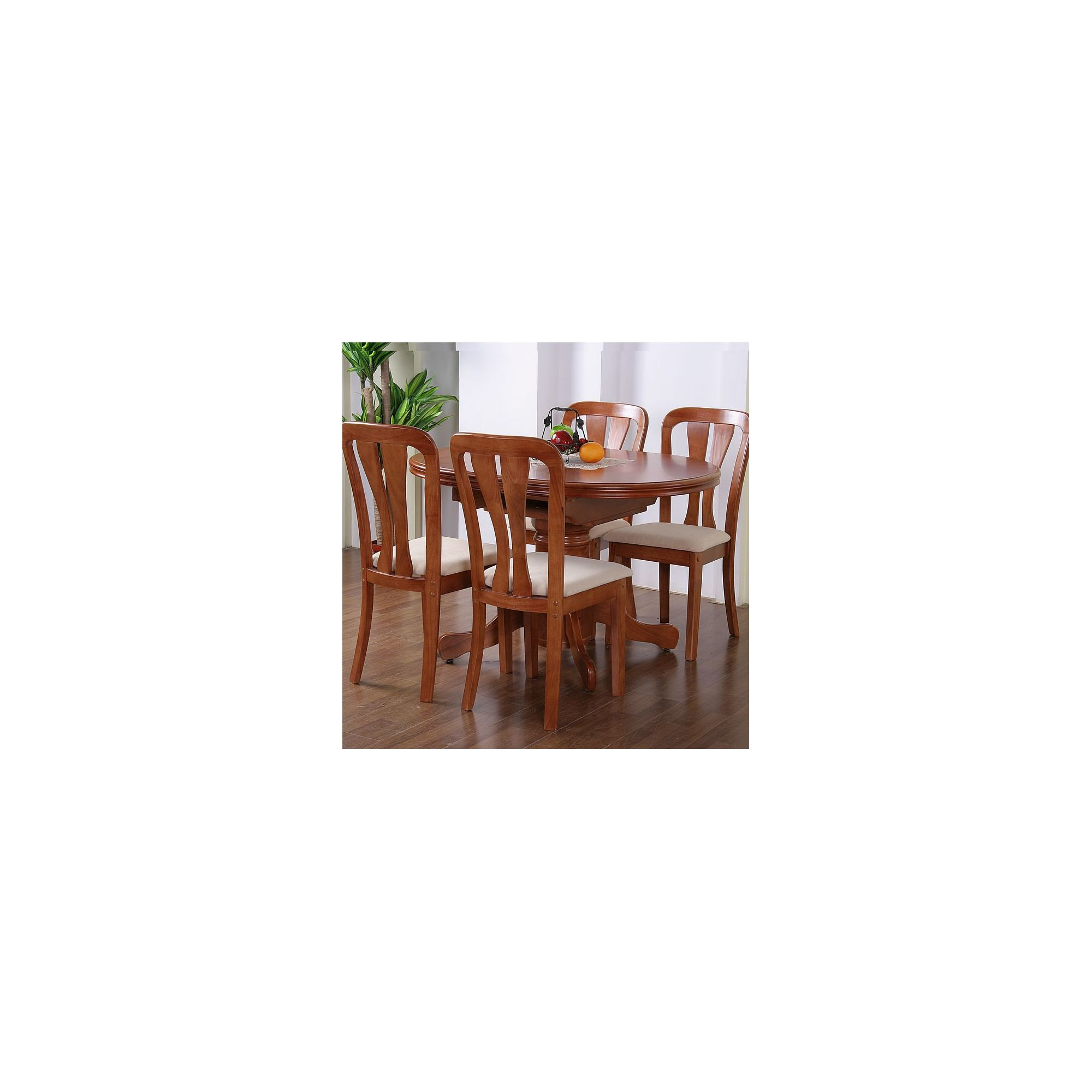 G&P Furniture Windsor House 5-Piece Stratford Oval Flip Top Extending Dining Set with Slatted Back Chair - Cherry at Tesco Direct