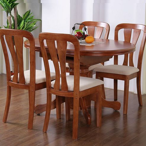 G&P Furniture Windsor House 5-Piece Stratford Oval Flip Top Extending Dining Set with Slatted Back Chair - Cherry