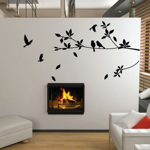 Stylish Tree and Bird Wall Sticker, Black