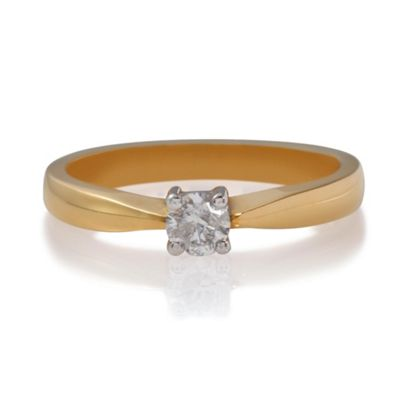18ct Gold 1/4ct Diamond Solitaire Ring, N