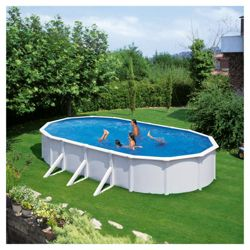 White Oval Steel Pool 7.3m