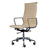 Eames EA119 Inspired High Back Ribbed White Leather Office Chair