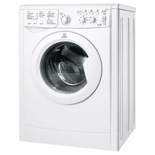 Indesit IWDC6105 Washer Dryer, 6Kg Wash Load, 1000 RPM Spin, B Energy Rating, White