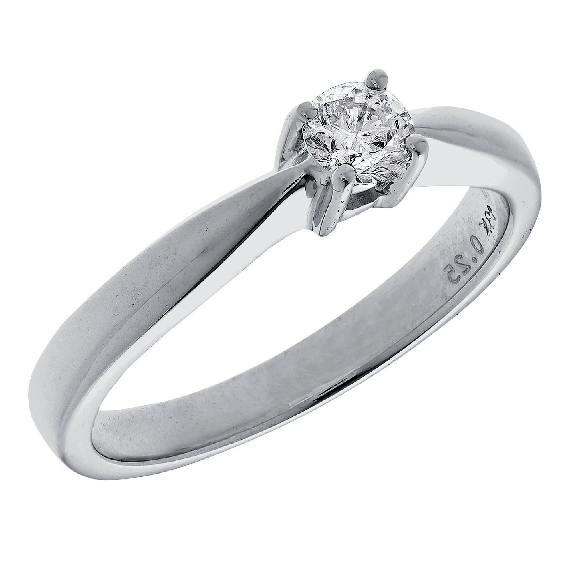 18ct White Gold 25Pt Diamond Solitaire Ring, P at Tesco Direct
