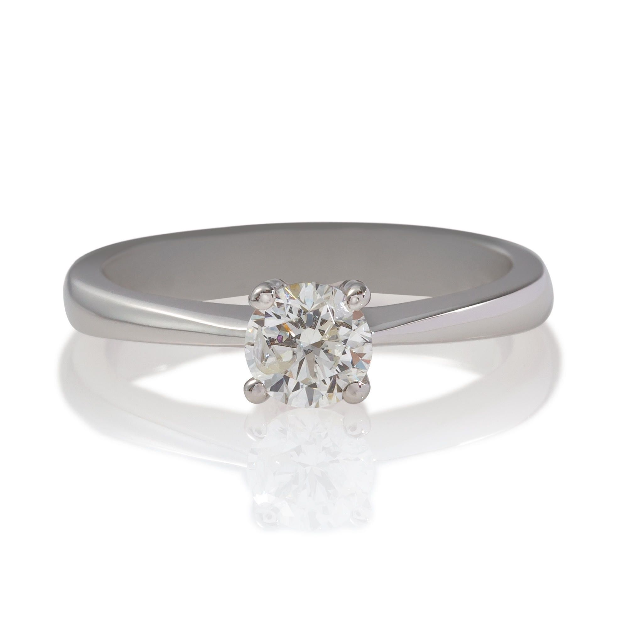 18ct White Gold 50Pt Diamond Solitaire Ring, P at Tesco Direct