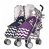 OBaby Leto Plus Twin Stroller (ZigZag Navy/Purple)