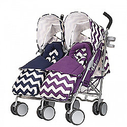 Obaby Leto Plus Twin Stroller with Footmuffs - ZigZag Navy & ZigZag Purple