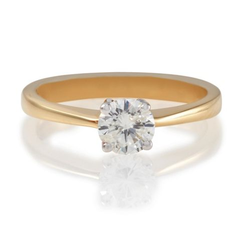 18ct Gold 1/2ct Diamond Solitaire Ring, N