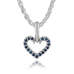 Gemondo 9ct White Gold Blue Diamond Heart 45cm Pendant Necklace